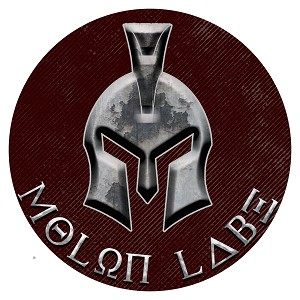 Molon Labe Burgundy Silver Spartan Helmet Circle Sticker 4""