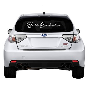 "Under Construction Rear Windshield Outdoor Vinyl Decal Sticker - 32"" wide x 6"" tall"