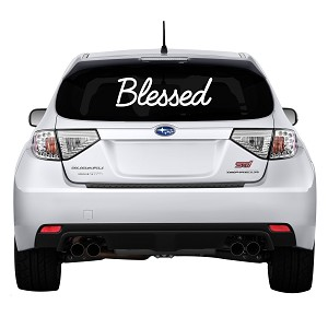 "Blessed Rear Windshield Outdoor Vinyl Decal Sticker - 19"" wide x 6"" tall"