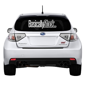 "Basically Stock … Rear Windshield Outdoor Vinyl Decal Sticker - 19"" wide x 6"" tall"