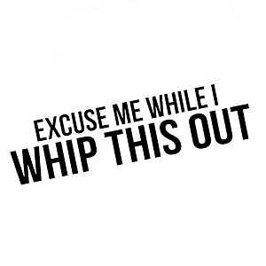 Excuse Me While I Whip This Out Funny Quote Vinyl Sticker Car Decal