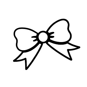 Cute Girl Bow Outline Vinyl Sticker Car Decal
