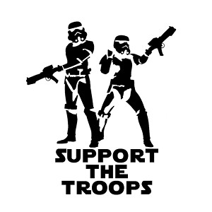 Support the Troops Stormtroopers Vinyl Sticker Car Decal