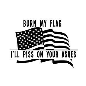 Burn My Flag I'll Piss on Your Ashes Funny Patriotic American Flag Vinyl Sticker Car Decal