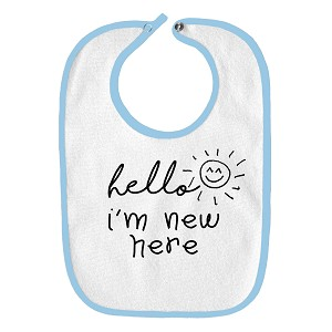Hello I'm New Here Cute Funny Parody Infant Baby Bib