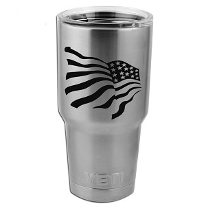 Patriotic Waving American USA Flag Vinyl Sticker Decal for Yeti Mug Cup Thermos Pint Glass (DECAL ONLY, NO CUP)