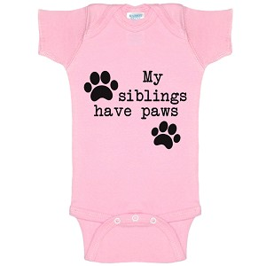 My Siblings Have Paws Funny Baby Bodysuit Infant