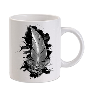Black Ink Feather 11 oz. Novelty Coffee Mug