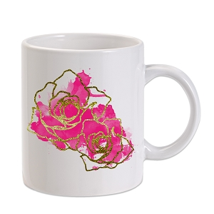 Watercolor Glitter Roses 11 oz. Novelty Coffee Mug
