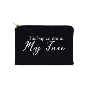This Bag Contains My Face 12 oz Cosmetic Makeup Cotton Canvas Bag