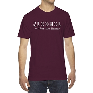 Alcohol Makes Me Funny Men's Crew Neck Cotton T-Shirt