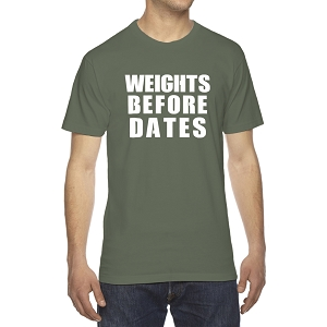 Weights Before Dates Gym Men's Crew Neck Cotton T-Shirt