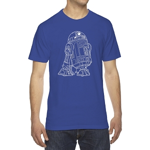 Star Robot Outline Men's Crew Neck Cotton T-Shirt
