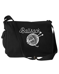 Funny Ballsack Yarn Crochet Knitting Joke Black Canvas Messenger Bag