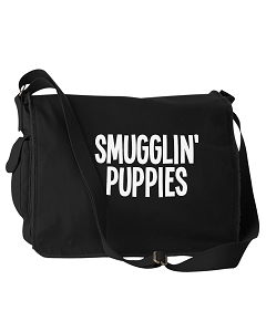 Funny Smugglin Puppies Dogs Black Canvas Messenger Bag