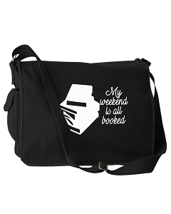 Funny My Weekend Is All Booked Studying Student Black Canvas Messenger Bag