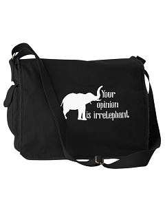 Funny Your Opinion Is Irrelephant Elephant Pun Black Canvas Messenger Bag