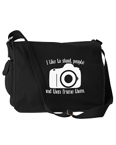 Funny I Like To Shoot People And The Frame Them Photographer Black Canvas Messenger Bag