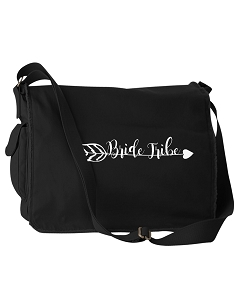 Funny Bride Tribe Bridesmaids Gifts Black Canvas Messenger Bag