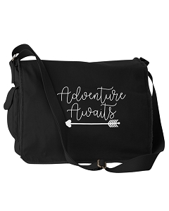 Funny Adventure Awaits Newlyweds Wedding Bridesmaids Gifts Black Canvas Messenger Bag