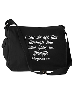 I Can Do All This Through Him Philippians 4:13 Bible Quote Phrase Black Canvas Messenger Bag