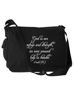 God Is Our Refuge And Strength Script Psalm 46:1 Bible Quote Phrase Black Canvas Messenger Bag