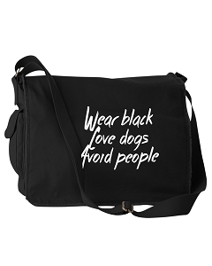 Funny Wear Black Love Dogs Avoid People Black Canvas Messenger Bag