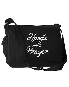 Handle With Prayer Religious Black Canvas Messenger Bag