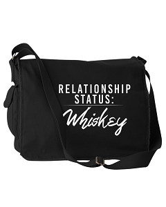 Funny Relationship Status:Whiskey Alcohol Black Canvas Messenger Bag
