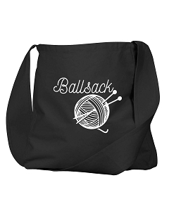 Funny Ballsack Yarn Crochet Knitting Joke Black Canvas Satchel Bag
