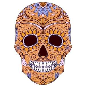 Sugar Skull Gold Purple Blue Paisley Day Of The Dead Sticker 4