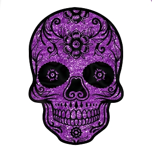 Sugar Skull Purple Glitter Sparkle Day Of The Dead Sticker 4