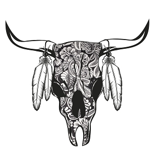 Paisley Cow Skull Feathers Horns Sticker 5