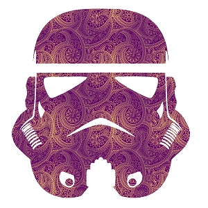 Paisley Purple Gold Storm Trooper Helmet Sticker 5