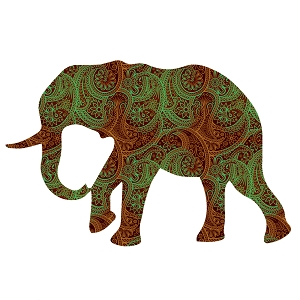 Paisley Elephant Silhouette Red Green Animal Sticker 5