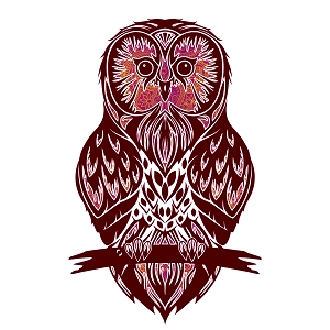 Glitter Pink Burgundy Owl Silhouette Animal Sticker 5
