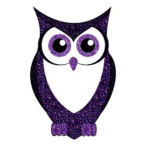 Glitter Owl Purple Blue Silhouette Animal Sticker 5