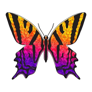 Butterfly Orange Purple Silhouette Sticker 5