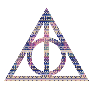 Tribal Deathly Inspired Hallows Pink Purple Aztec Triangle Sticker 5
