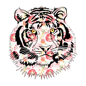 Floral Tiger Head Silhouette Sticker 5