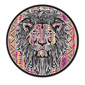 Tribal Lion Head Circle Sticker 5