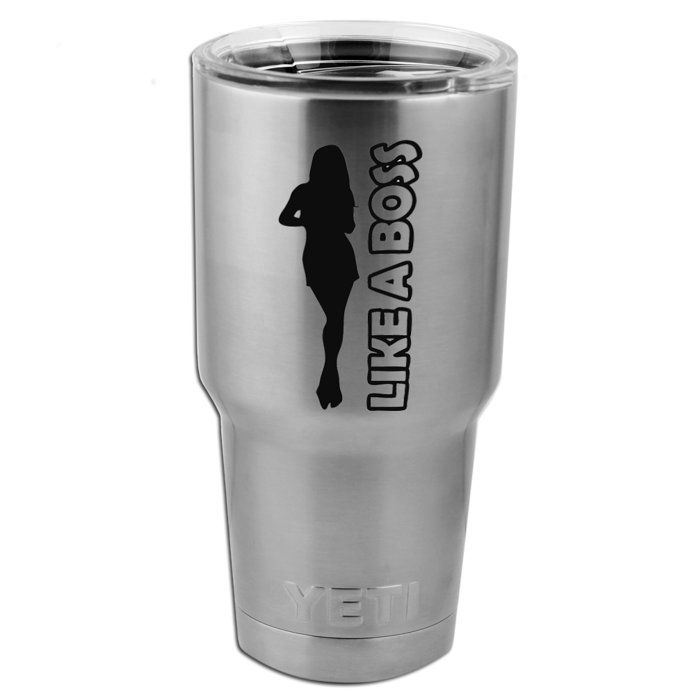Like a Boss Girl Silhouette Vinyl Sticker Decal for Yeti Mug Cup Thermos Pint Glass (DECAL ONLY, NO CUP)