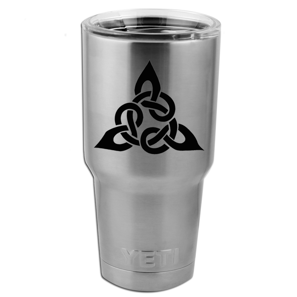 Triangular Celtic Cross Knot Vinyl Sticker Decal for Yeti Mug Cup Thermos Pint Glass (DECAL ONLY, NO CUP)