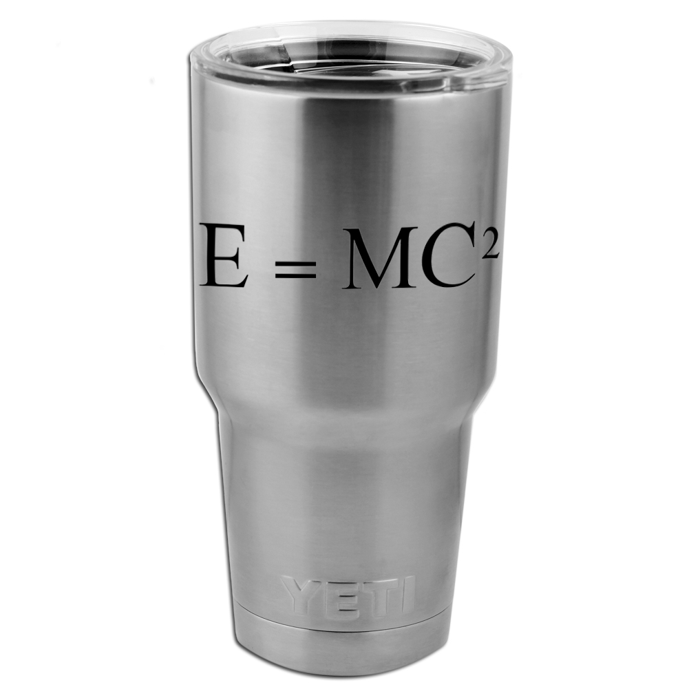 E=MC2 Einstein Math Equation Vinyl Sticker Decal for Yeti Mug Cup Thermos Pint Glass (DECAL ONLY, NO CUP)