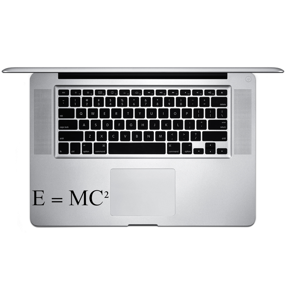 E=MC2 Einstein Math Equation Vinyl Sticker Laptop Keyboard Inside Corner iPhone Cell Decal
