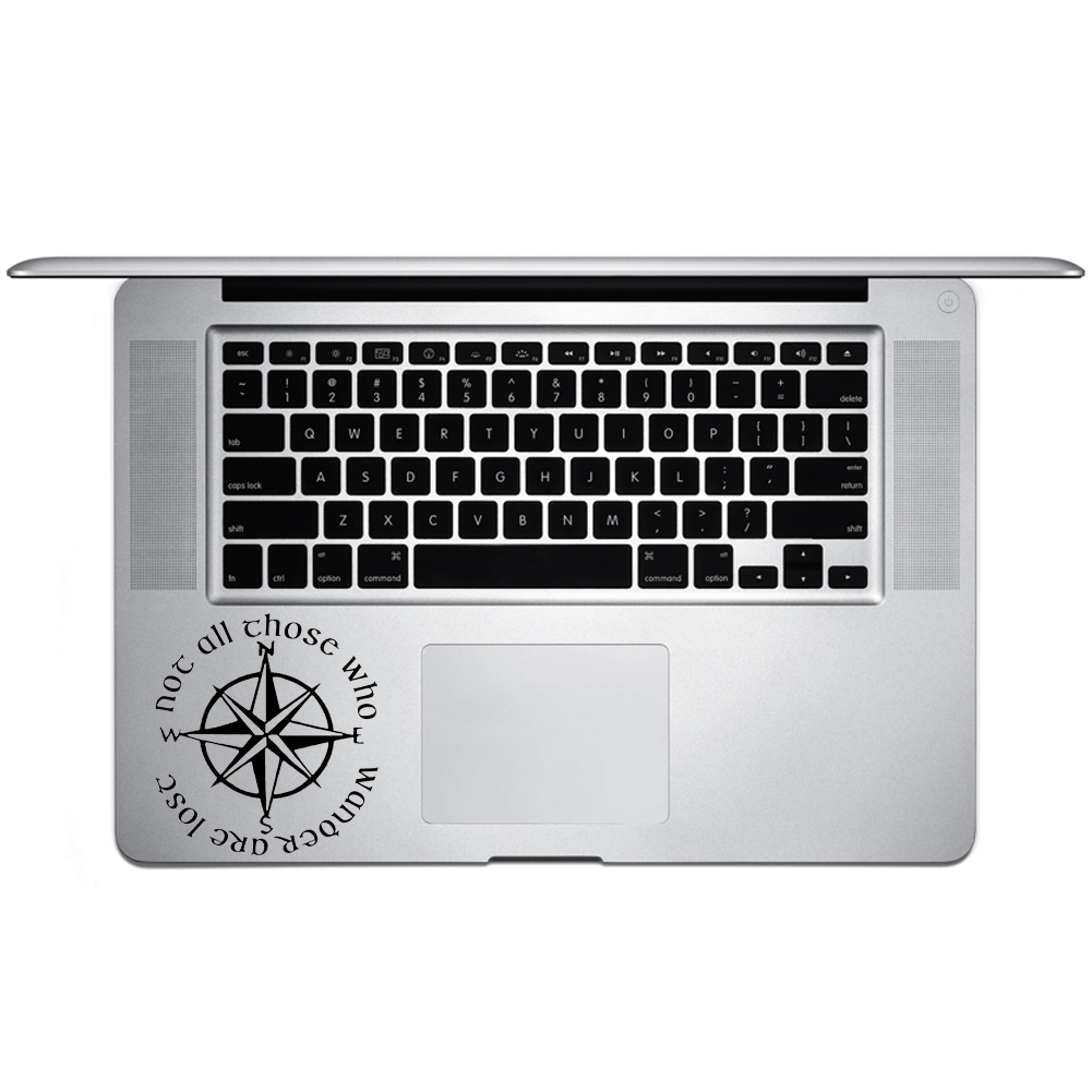 Not All Those Who Wander Are Lost LOTR Compass Vinyl Sticker Laptop Keyboard Inside Corner iPhone Cell Decal