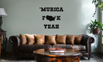 Funny Patriotic Murica F*ck Yeah Vinyl Wall Mural Decal Home Decor Sticker