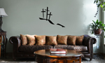 Calvary Hill Silhouette Crosses Christian Vinyl Wall Mural Decal Home Decor Sticker